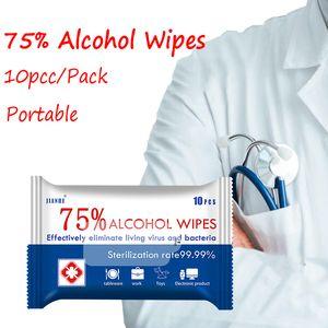 10pcs / bag 75% di alcool Disinfezione tamponi antisettici SWABS Pad pelle della mano pulizia sterilizzazione salviettine umidificate inglese Pacchetto BH3342 TQQ