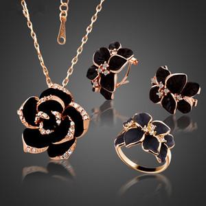 Mode-Rosen-Blumen-Emaille-Schmuck-Set Rose Gold Farbe Schwarz Malerei Brautschmuck Sets für Frauen Hochzeit