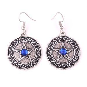 HY150 Viking cercle religieux pendentif boucle d'oreille talisman plaqué argent pentagramme boucles d'oreilles charme avec choix de couleur de pierre gemme