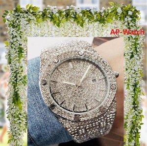 relogio Altın Lüks Erkekler Otomatik buzlu Out elmas Kadınlar İzle Roma Başkan Kol Kırmızı İş Reloj Büyük Elmas Takı Saat