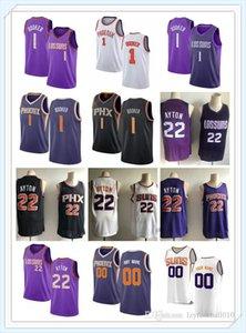 femmes des nouveaux hommes Phoenix YouthnbaSuns2020 Devin 1 Booker DeAndre 22 Basketball Ayton personnalisés Maillots Suns blanc noir violet