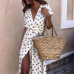 Nuevas mujeres Wave Point Maxi con cuello en V Vestido largo largo Summer Beach Slit Sundress derramado Boho Casual Holiday Soft 1Pcs Vestidos