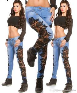 Femmes Designer Lace lambrissés Fashion Jeans taille haute Jeans Femme Printemps Skinny See Through Apparel Casual