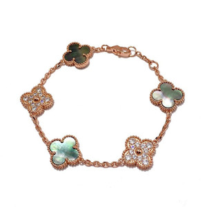 2019 Top Messing Material Markenname Blume mit fünf Blumen Natur Achat Anhänger Armband mit Raute Verschluss für Frauen Hochzeitsgeschenk Schmuck