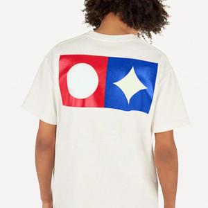 19SS Letra geométrica camiseta impresa de moda del monograma respirable del verano tee simple ocasional de los hombres de la calle Las mujeres de manga corta Ropa S-2XL