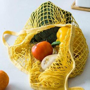 Depolama Çanta Mutfak Organizatör Aracı Asma Resuable Meyve Sebze Alışveriş Çantası Dize Shopper Pamuk El Totes Mesh Dokuma Net