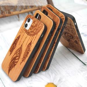 الرجعية TPU + الخشب الهاتف حالة النقش تصميم الجدة حالة الهاتف خمر لIphone11PRO MAX 8plus XR إكسس ماكس سامسونج S8 S9 ملاحظة 9