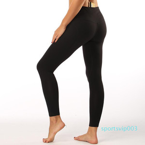 LU-13 Non-see Through High Waist Women Yoga Pants Solid Black Sports Gym Wear Leggings Elastic Fitness Lady Overall Full Tights