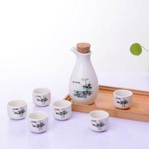 7 قطع خمر أكواب السيراميك ساكي وعاء مجموعة النمط الياباني الورك قوارير الرئيسية مطبخ مكتب الإبريق الخمور كأس drinkware الهدايا الإبداعية
