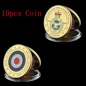 10pcs Lüksemburg Kraliyet Hava Kuvvetleri Emekli Altın Kaplama Para Askeri Hatıra Para Amerika Fancy Mücadelesi Coin