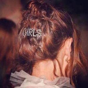 Avrupa Kristal Rhinestone Saç Klip Pin Kadın Saç Aksesuarları Mektup Patron Şekli Kore Headdress Toka Barrette Kızlar Tutucu