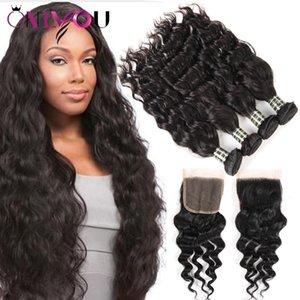 Mink Brazilian Water Wave Virgin Hair Closure 4 Human Hair Weave Bundles Natural Wave Human Hair Weaving For Black Women Superior Suppliers