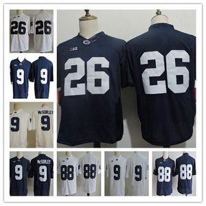 Günstige Männer Penn State Nittany College-Trikots 26 Barkley 9 Trace McSorley 88 Gesicki 2 Marcus Allen Navy Weiß Genähte PSU-Shirts