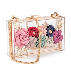 Women Acrylic Flower Clutches Crossbody Purse Evening Bags Chain Strap For Wedding Prom Banquet Ideal-gift Golden Frame CJ191210