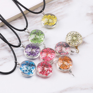 Fashion Dried Flower Glass Ball Women Necklace Pendant Rope Chain Necklace for Women Strip Leather Choker Wedding Jewelry