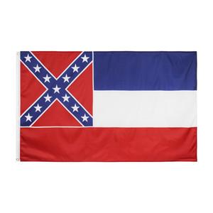 Livraison gratuite 100% Polyester 3 * 5 fts 90 * 150cm pendaison situé dans le sud des États-Unis Mississippi Drapeau pour la décoration