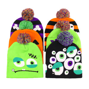 Led Halloween Christmas Knitted Hats Kids Baby Moms Winter Warm Beanies Crochet Caps Light Pumpkin Snowmen Festival Hat new GGA2746