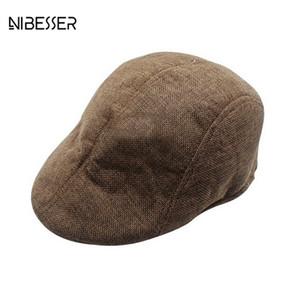 NIBESSER Mens Womens Duckbill Cap Mens Knitted Wool Newsboy Hat Winter Warm Beret Cap Gentleman Casual Unisex Berets Caps