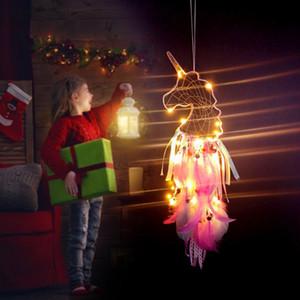 Licorne Dream Catcher Accessoires Unicornio anniversaire Prop bricolage plume tissu artisanat Tenture murale ornements enfants anniversaire fournitures