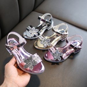 Girls Wedding Shoes Glitter New Brand High Heels Children Princess Sandals Dance Kids Fashion Party Shoes with Flowers M200555