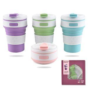 Kreative Kaffeetasse Mit Deckel Silikon Falten Wasserflaschen Outdoor Student Sport Cups Fit Camping Ausrüstung 350 ml 11 8ry E1