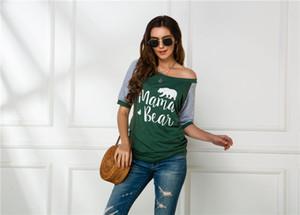 Manga corta Diseñador Tops para mujer de color doble con paneles Casual Tees impresa letra camisetas del verano sin tirantes de la ropa femenina