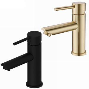 Brass Solid Banheiro Faucet Hot Cold Water Tap Deck Montado Instale Single Handle Sink Toque escovado Ouro Preto