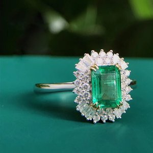 AEAW Jewelry 18K White Gold 1.0ct Natural Emerald Anel Emerald Cut Verde Gemstone Diamond Ring Mulheres Jóias T200411