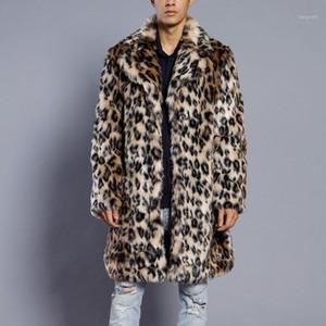 Jacket Man 2018 Leopard Warm Thick Fur Collar Coat Faux Fur Parka Outwear Cardigan Windbreaker Winter Jacket Men1