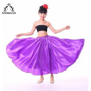 TOPMELON Sahne Kıyafetler Chines Halk Dansları Kızlar Kırmızı Mor Siyah Mavi Sarı Pürüzsüz Dans Etek için katı Etek giyin
