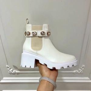 Дизайнеры Martin Boots White Color Cowboy Ankle Boots Дизайнеры Женщины Booties Highet Качество 6 см Зимние пинетки