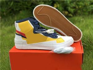 2019 Com Box Blazers Mid x Sacai Skate Shoes Alta Baixa Casual tênis de lona Designer Shoes das mulheres dos homens