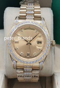 NEU kommen automatische Männer 41mm Goldgehäuse Steine Lünette und Diamanten in der Mitte der Armband-Mehrfarbenwahl Armbanduhr freies Verschiffen der Uhr