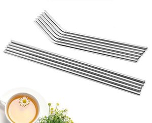 Durable Stainless Steel Straight Bent Drinking Straw Curve Metal Straws Bar Family kitchen For Beer Fruit Juice Drink Party Accessory