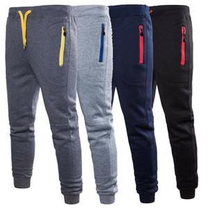 Fermuar Erkekler Sweatpants Uzun İpli Pantolon Günlük Pantolon Sonbahar Kış Erkek Pamuk Pantolon Cepler