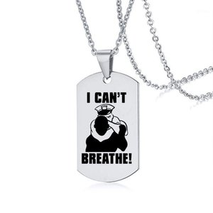 I Can't Breathe Necklace American Protest Men and Women Black Lives Matter Pendant Necklaces Stainless Steel Necklace Badge1