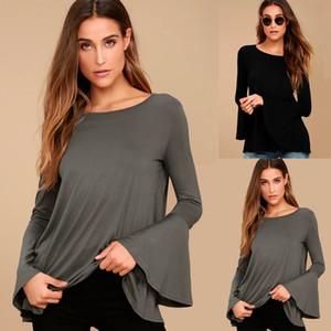 Moda Kadınlar Katı Gevşek Uzun Kelebek Kol Backless Gömlek Casual Pamuk T-Shirt