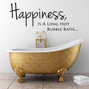 Ванная Wall Relax стикера искусства Quote Счастье Long Hot Bubble Bath ванной Декор Съемный водонепроницаемый Наклейка на стену