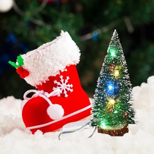 Navidad chuchería de escritorio verde de la escarcha lateral con el LED enciende las agujas del pino Quitar el polvo Mini árbol de navidad