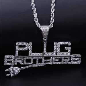 NEW Creative Iced Out Plug Pendant With Letters Brothers Pendant Pave Bling Clear Cubic Zircon Hip Hop Necklace Jewelry Gift