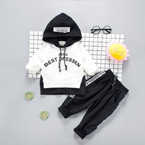 Kids Baby Girl Clothing Set Autumn Letter Sweatshirt Hoodie Tops Pants Warm Cotton 2pcs Outfit Toddler Clothes Sets