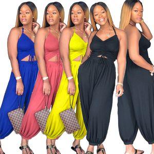 Moda Kadınlar Halter Jumpsuit V yaka Backless Bloomers tulum Yüksek Bel Gevşek Pantalettes Tulumlar Tek parça Bodysuit Casual Giyim