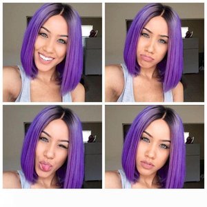 Two Tone Purple Full Lace Wigs With Baby Hair Ombre Lace Front Wigs Ombre Human Hair Wigs 1bTPurple Brazilian
