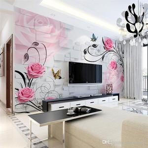 거실의 TV 배경 벽지 벽화 3D 스테레오 벽지 침실 따뜻하고 간단한 현대 따뜻한 장미