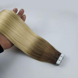 Cinta en extensiones de cabello Ombre Balayage Color Marrón # 6 mezclada con Blonde # 613 20pcs / 50g Extensiones de cabello humano Remy sedoso