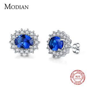 Modian 2017 Klassische 100% Echt 925 Sterling Silber Ohrringe Mode Luxus Kristall Bolzenohrrings Top Qualität Hochzeit Schmuck Ohr Y19062703