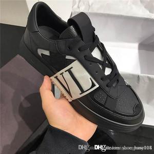 SS 2020 hombre y para mujer de piel de becerro VL7N la zapatilla de deporte con bandas, plana zapatillas con clavos de gran tamaño de becerro zapatillas de deporte a juego Embalaje