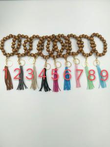 Handmade wooden bead bracelet tassel pendant key chain
