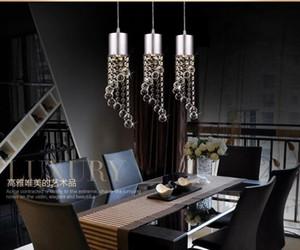 2017 3 kafa kristal droplight Moda LED Kristal Avizeler Modern Minimalist K9 Kristal Kolye Işık restoran Salon Işıkları