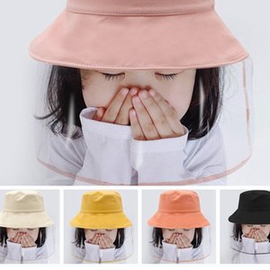 Dustproof Protection Face Cover Hats Bucket Hatouble-sided Party Hat with Detachable Protective Face Shield Transparent Mask for Kids RA3251